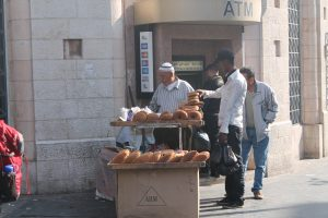 Selling bread in Amman, Jordan